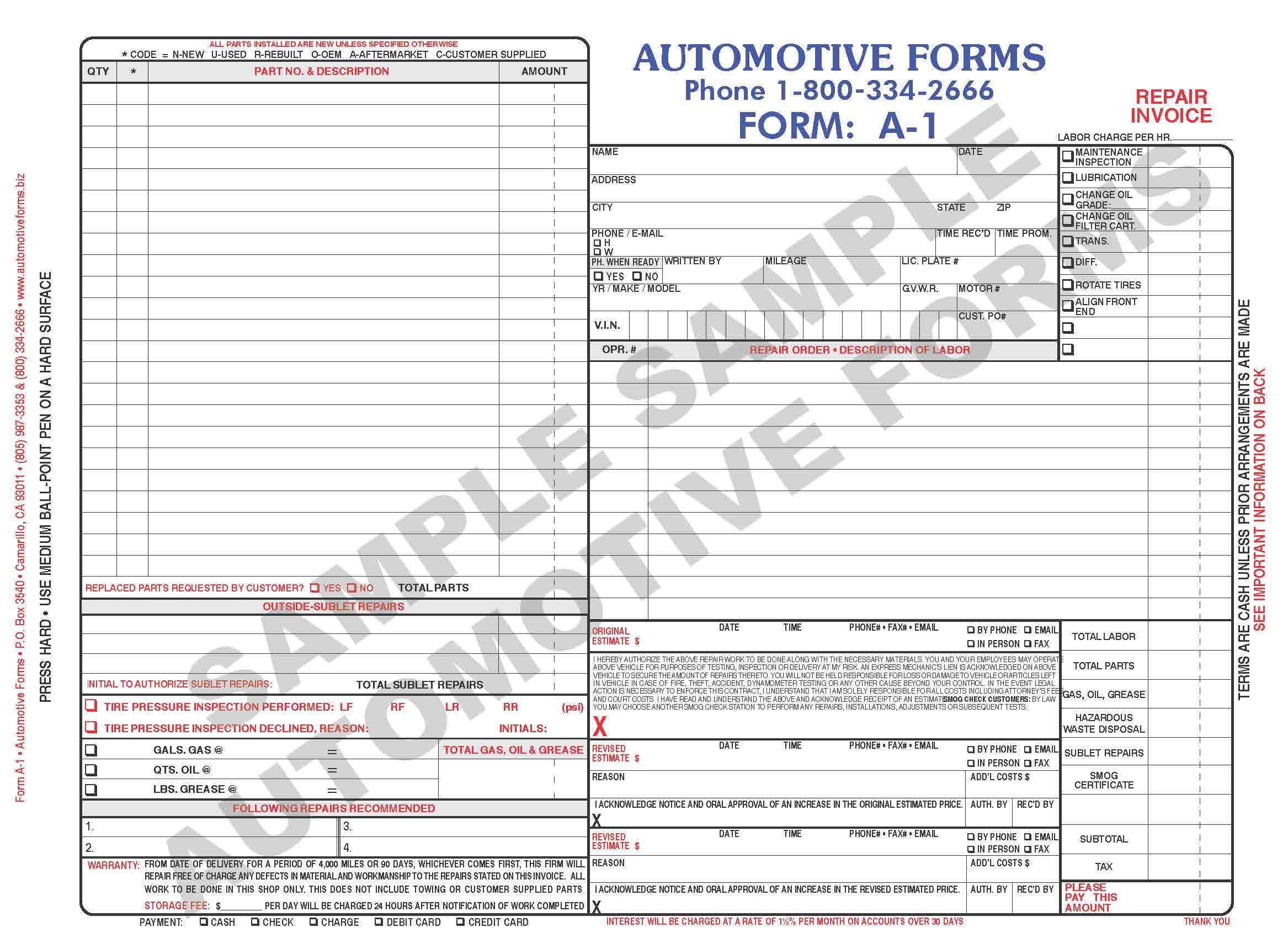 vehicle service sheet