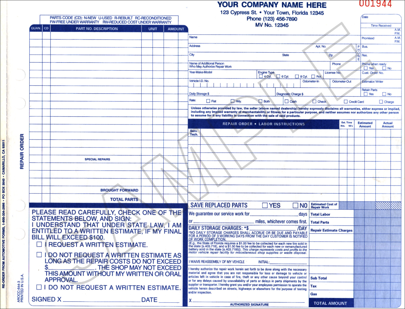 Forida repair invoice for Florida auto repair invoice